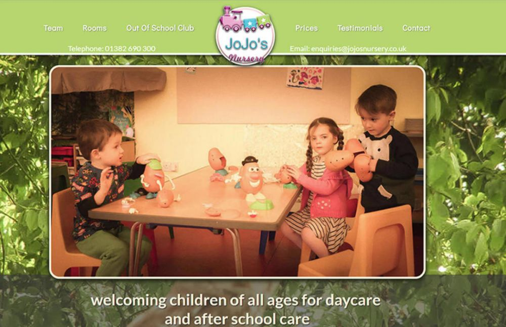 website designed for Jojos Nursery