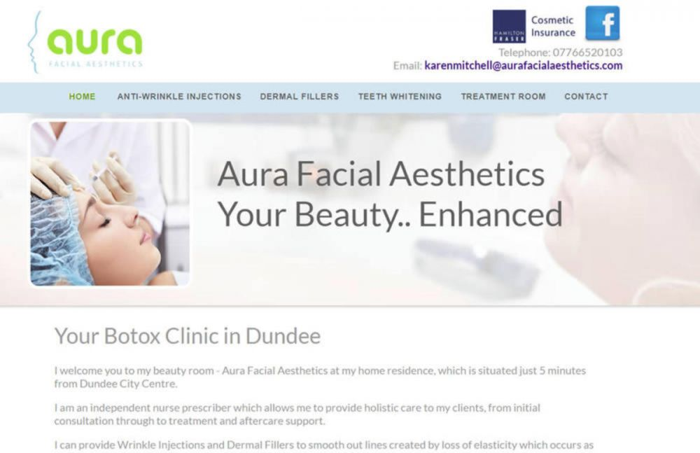 website designed for Aura Facial Aesthetics