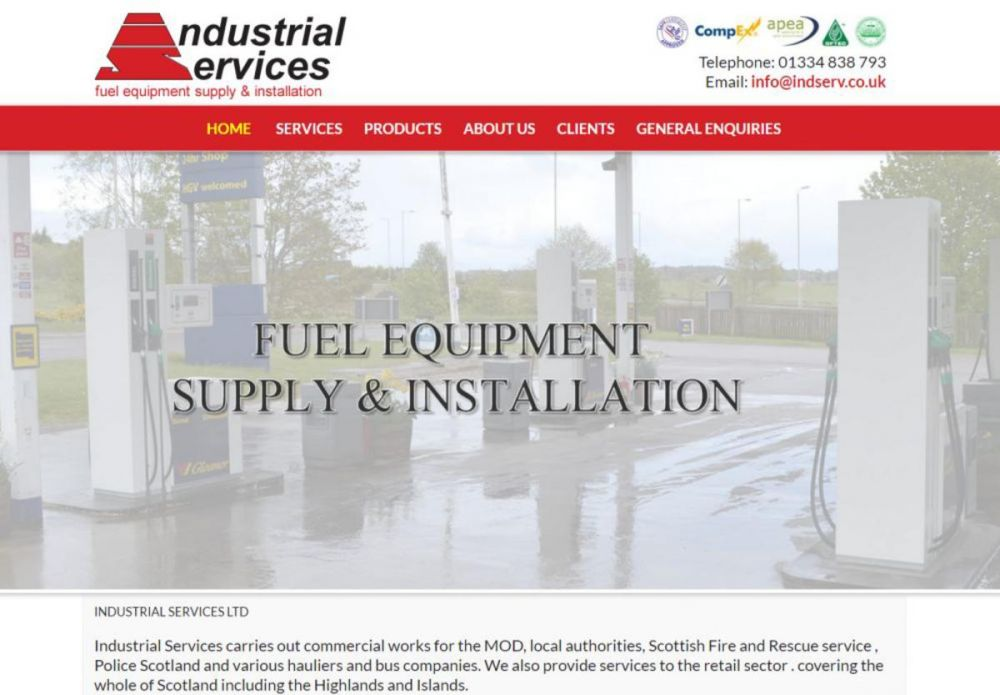 website designed for Industrial Services