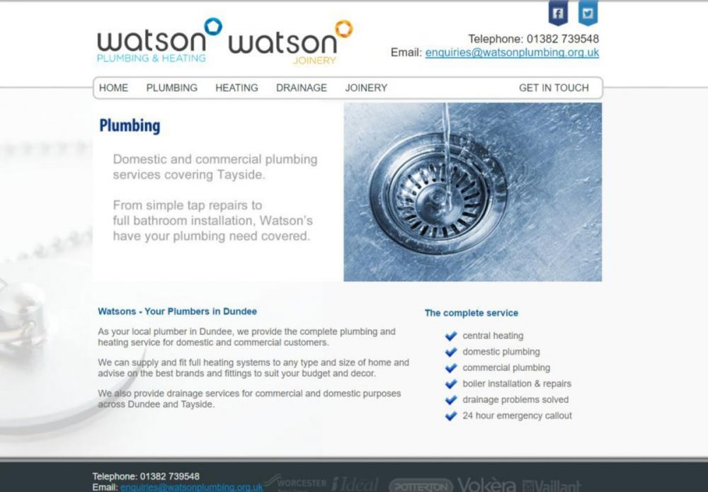 website designed for Watson Plumbing and Heating