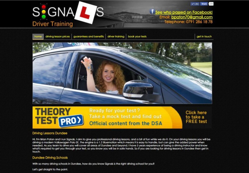 website designed for Signals Driver Training