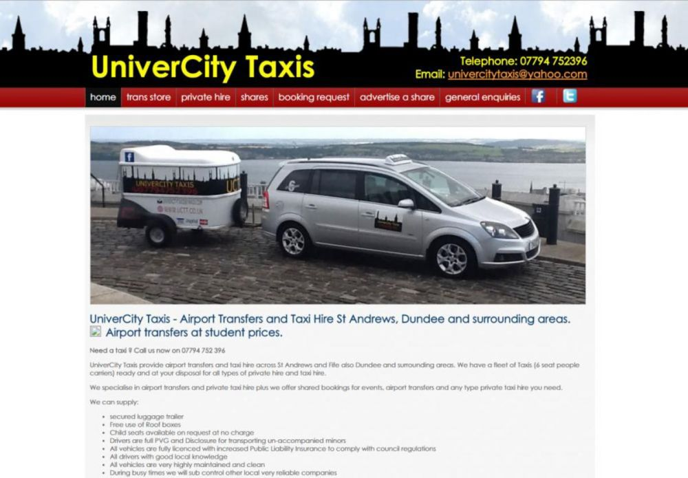 website designed for UniverCity Taxis
