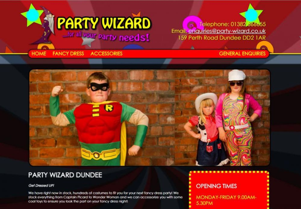 website designed for Party Wizard