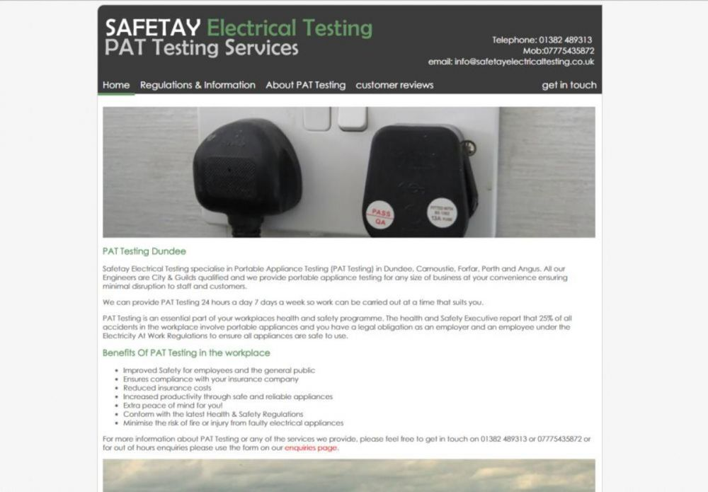 website designed for Safetay Electrical Testing
