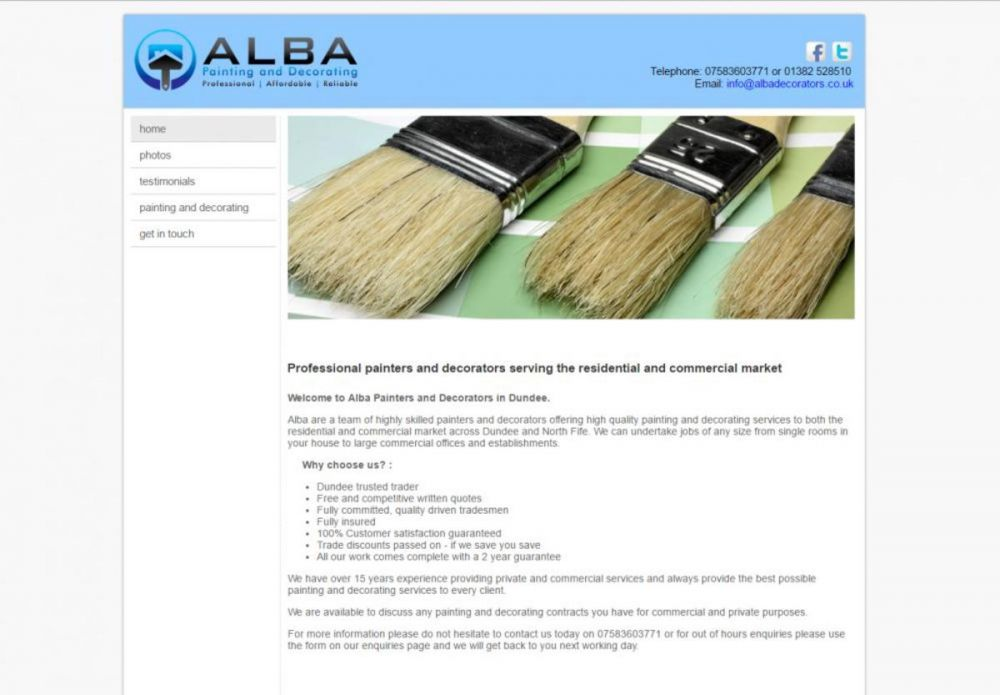 website designed for ALBA Painters and Decorators