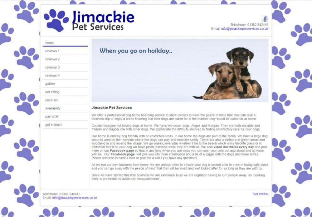 website designed for Jimackie Pet Services