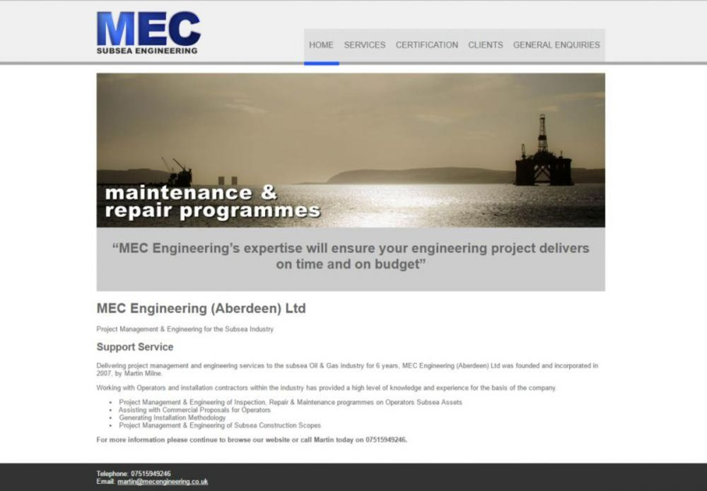 website designed for MEC Engineering