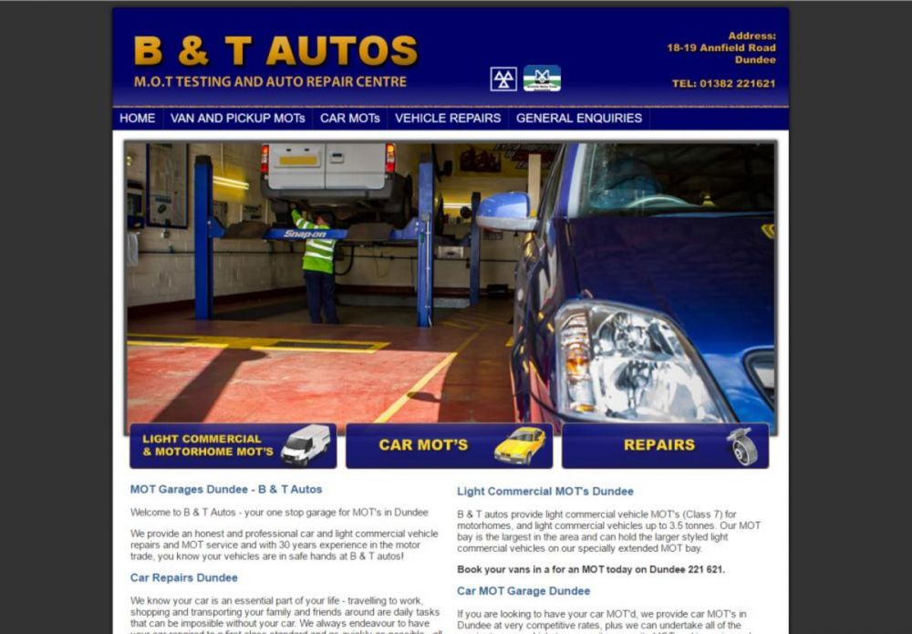 website designed for B & T Autos