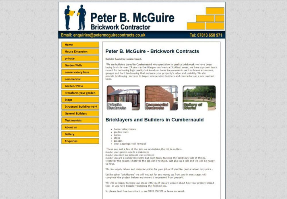 website designed for Peter McGuire Contracts