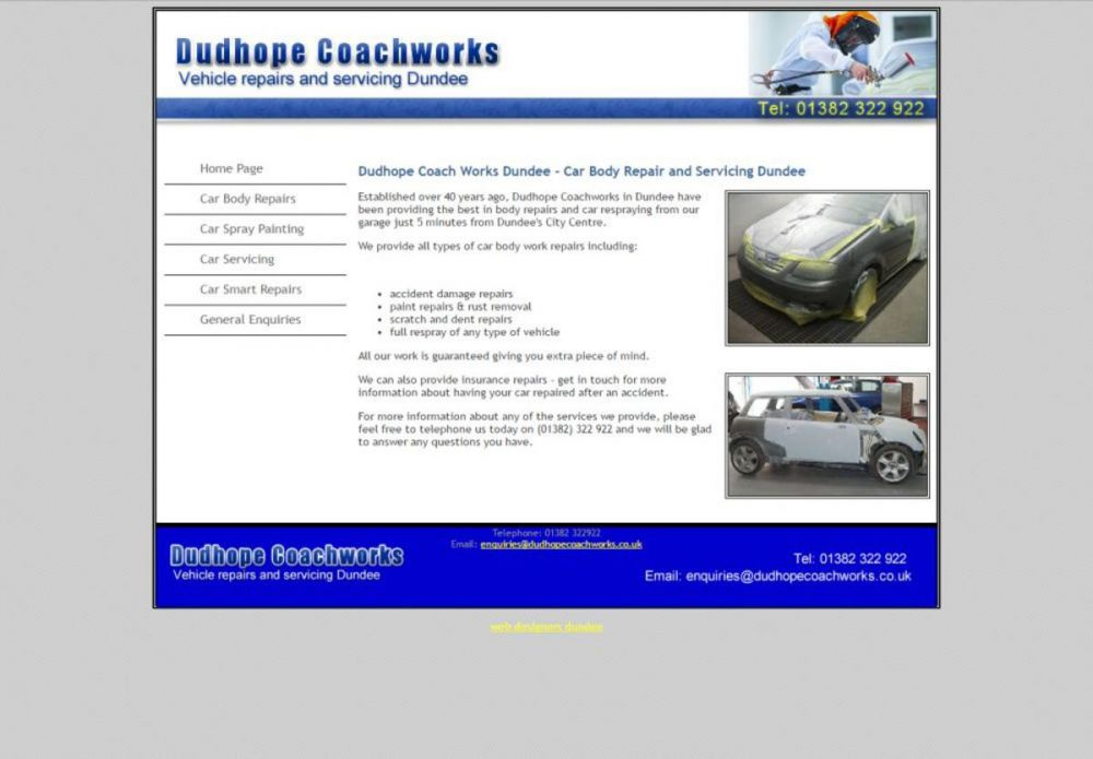 website designed for Dudhope Coachworks