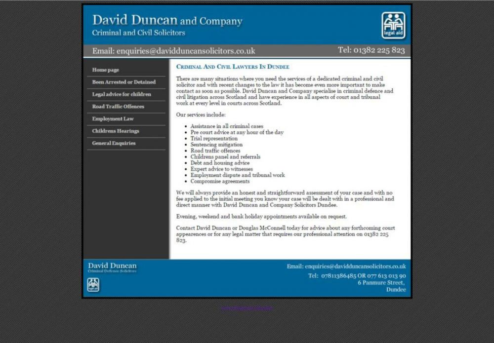 website designed for David Duncan Solicitors