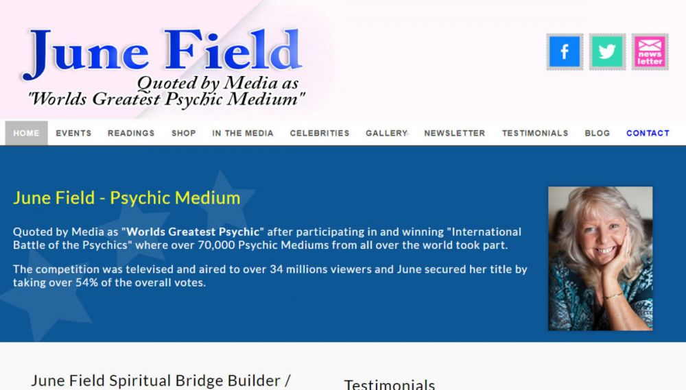 website designed for June Field Spiritual Medium Dundee