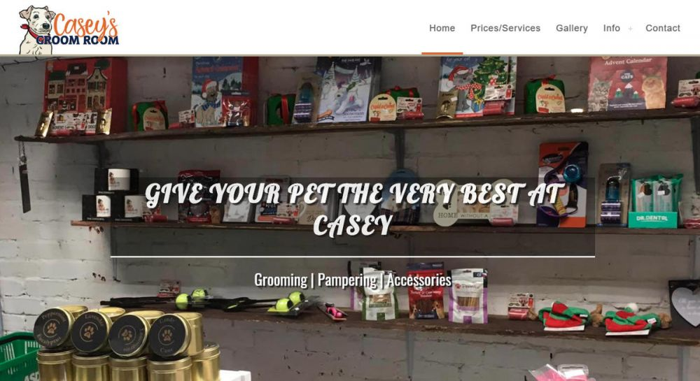 website designed for Caseys Groom Room