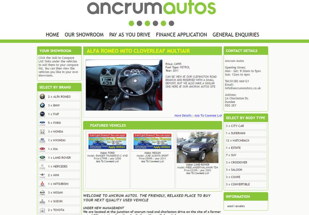website designed for Ancrum Autos