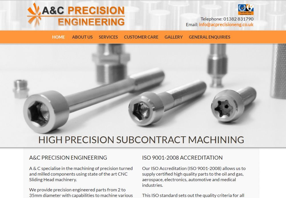 website designed for AC Precision Engineering