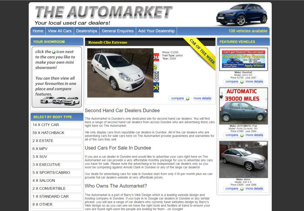 website designed for The Auto Market
