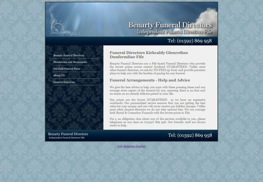 website designed for Benarty Funeral Directors