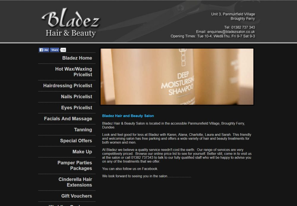 website designed for Bladez Salon