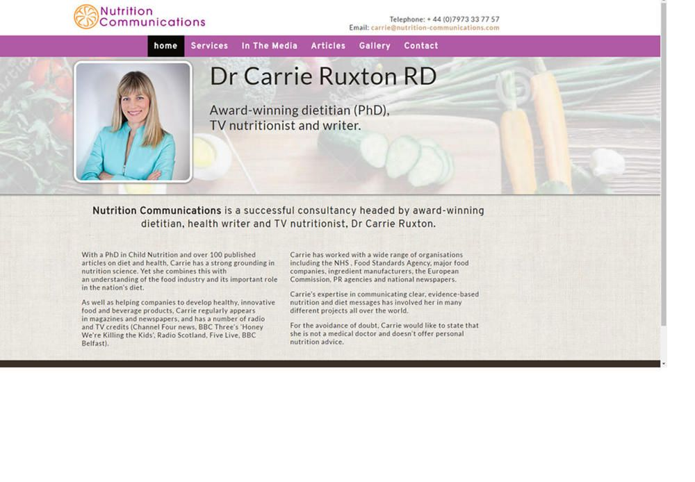 website designed for Nutrition Communications - Carrie Ruxton