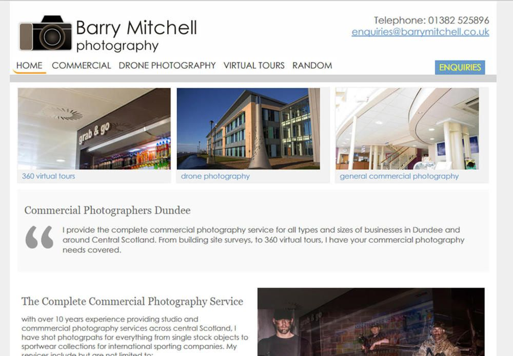 website designed for Barry Mitchell Photography