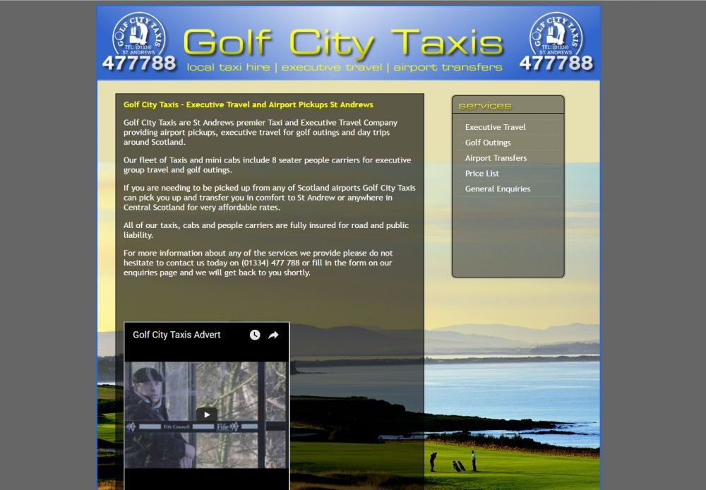 website designed for Golf City Taxis