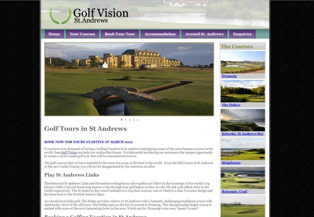 website designed for Golf Vision