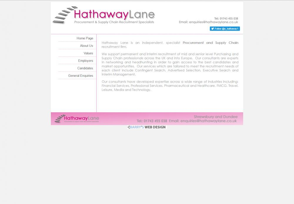 website designed for hathaway lane