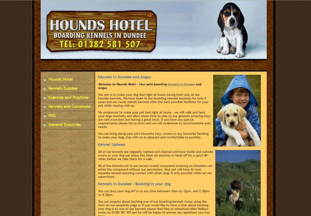 website designed for Hounds Hotel
