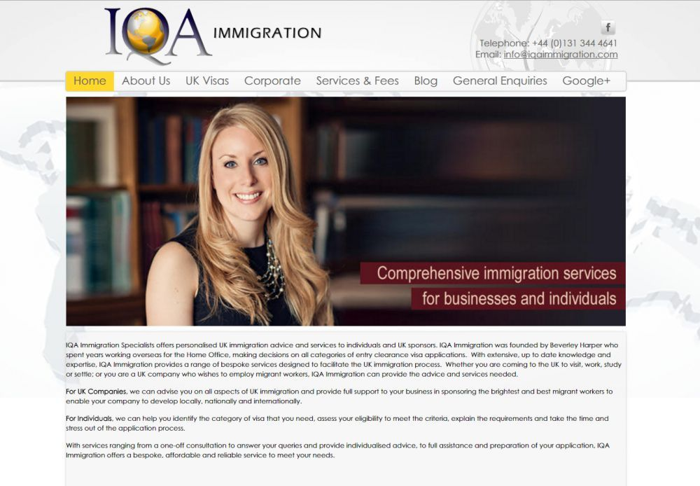 website designed for IQA Immigration