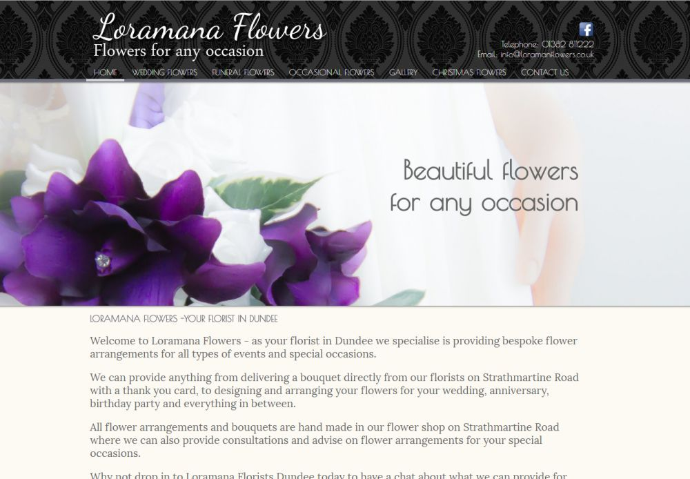 website designed for LORAMANA FLOWERS