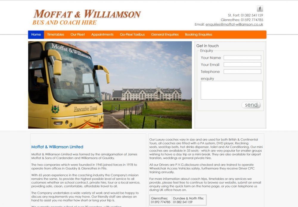 website designed for Moffat Williamson