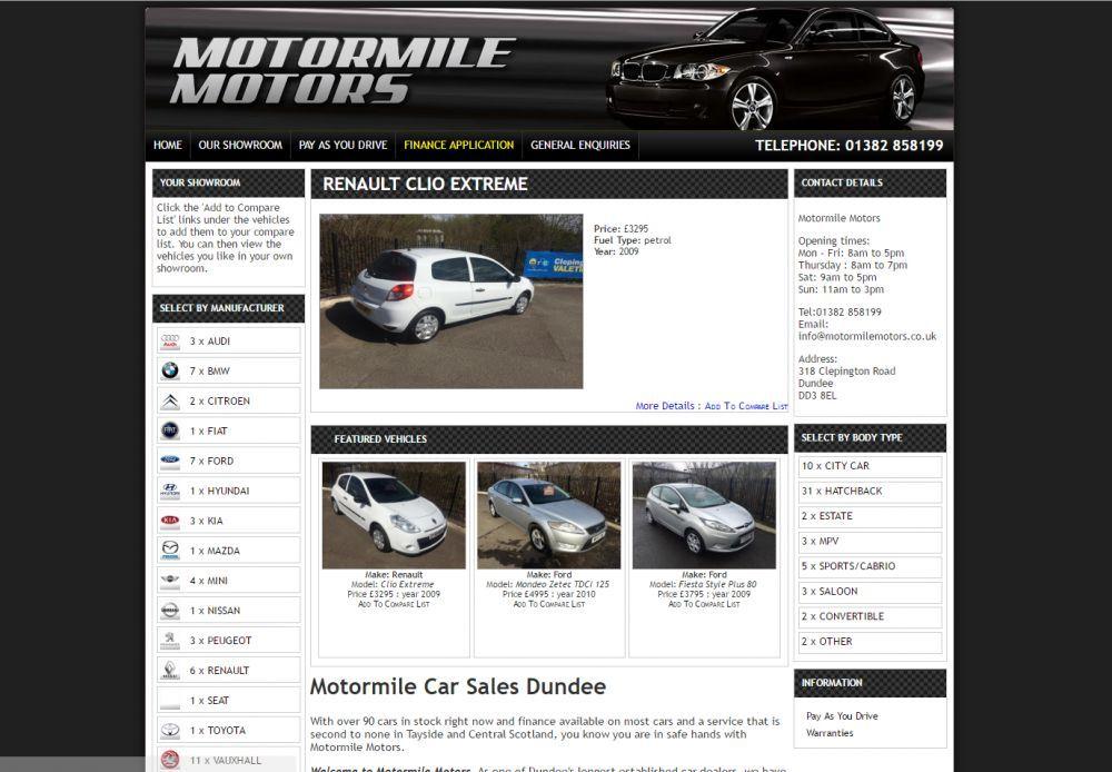 website designed for MotorMile Motors