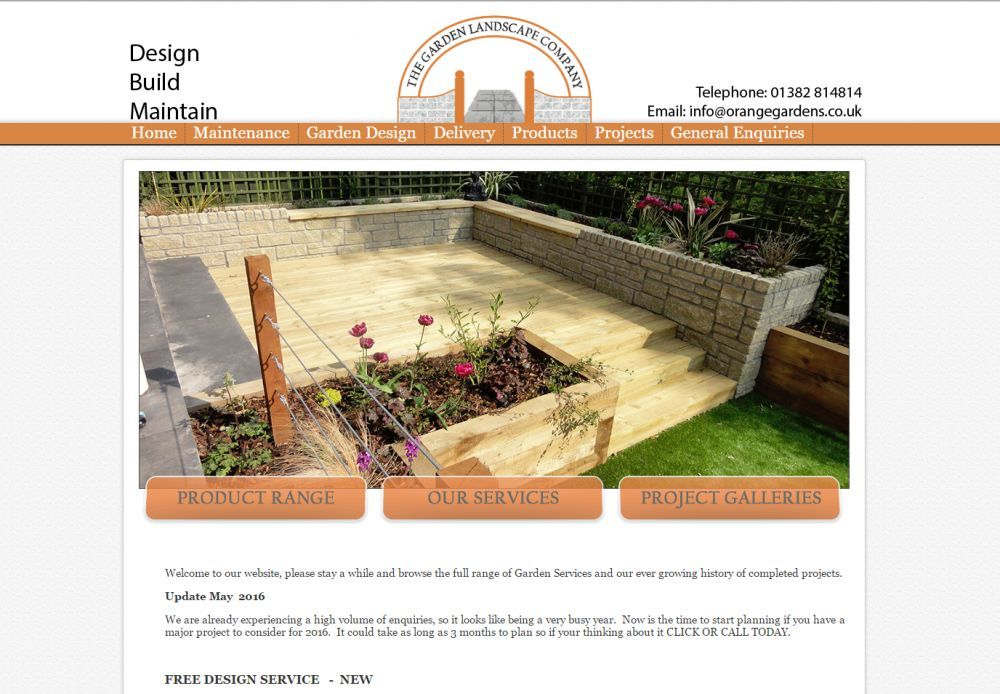 website designed for Garden Landscape Company