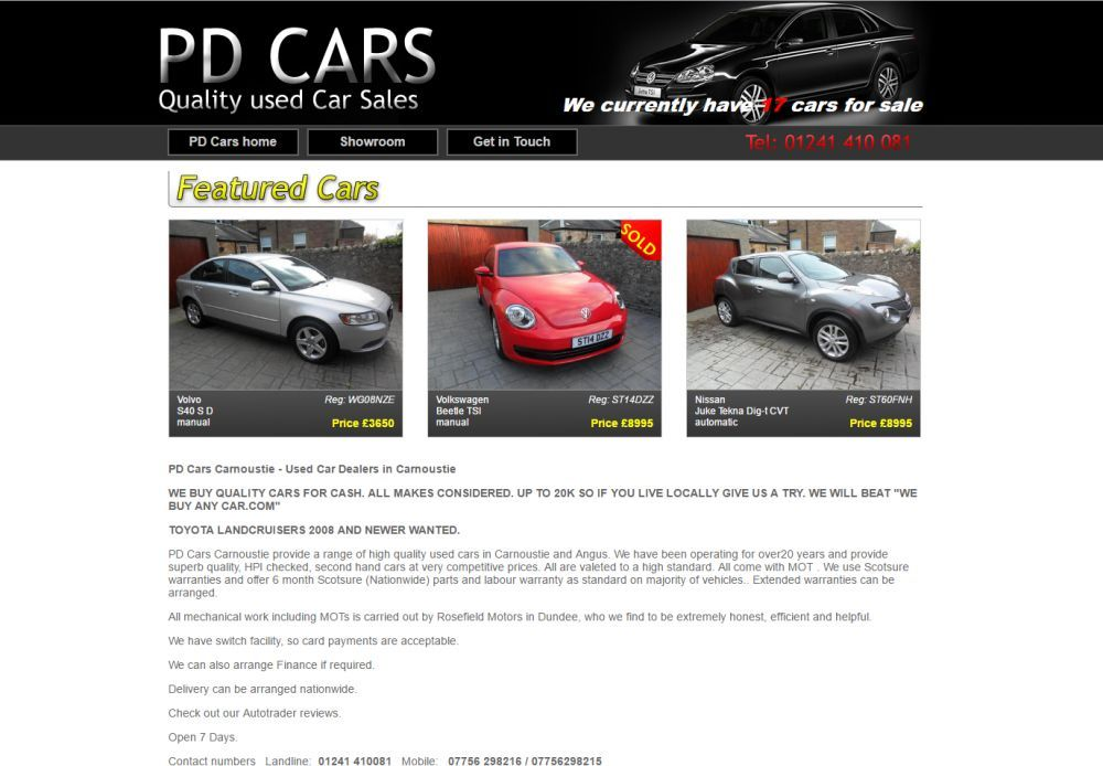 website designed for PD Cars