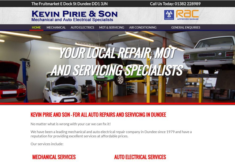 website designed for Kevin Pirie & Son