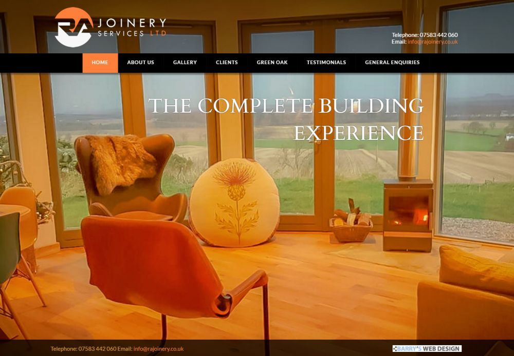 website designed for RA Joinery