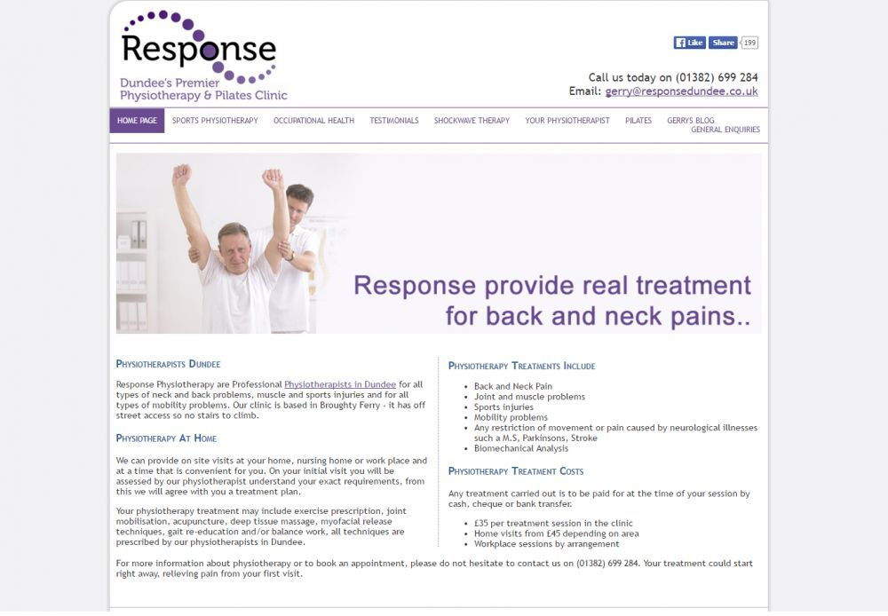 website designed for Response Physiotherapy