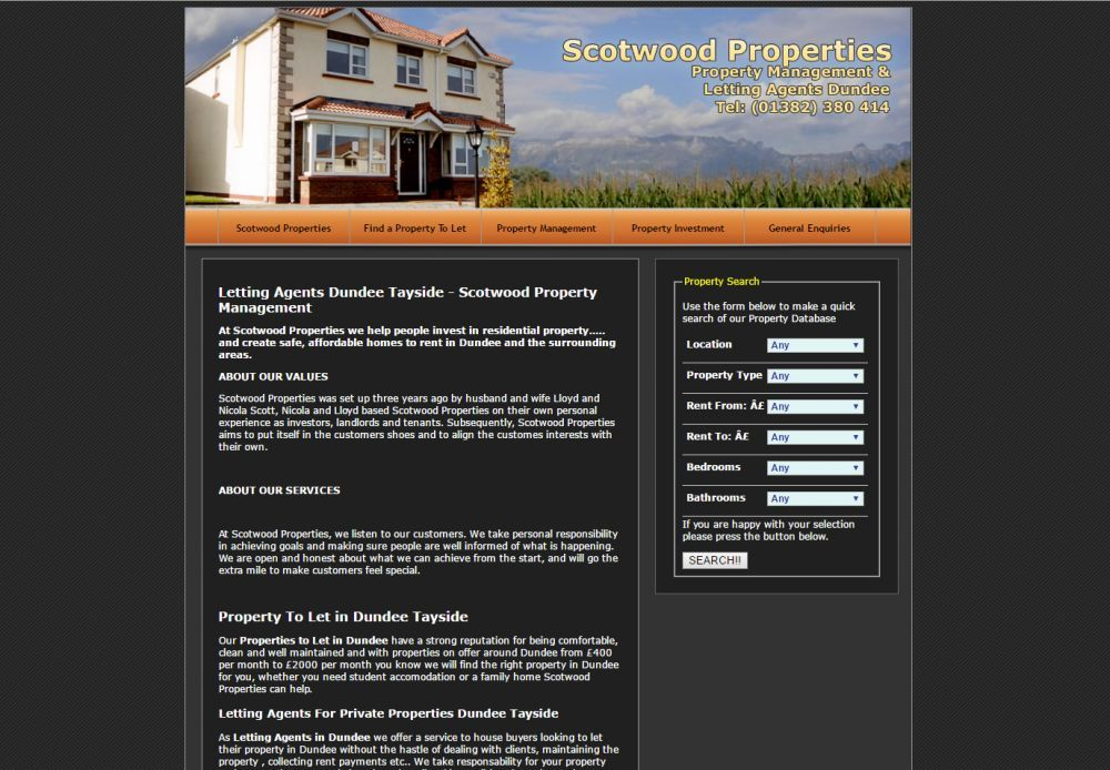 website designed for Scotwood Properties
