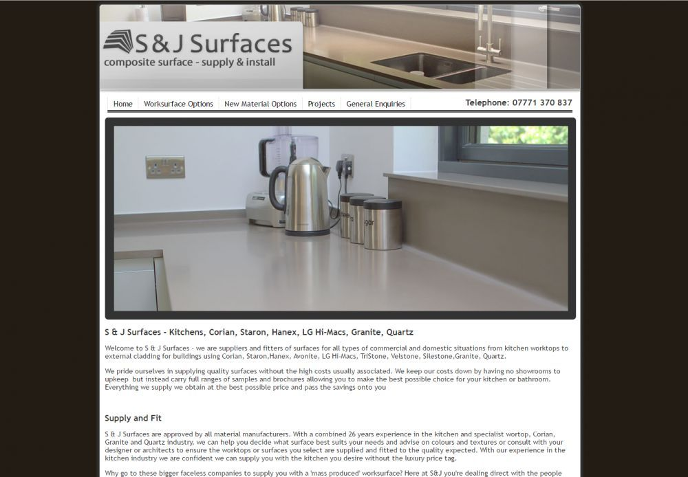 website designed for S and J Surfaces