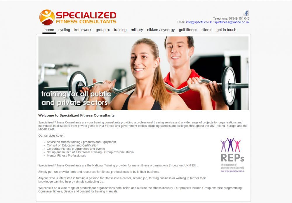 website designed for Specialized Fitness Consultants