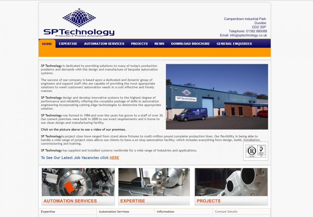 website designed for SP Technology