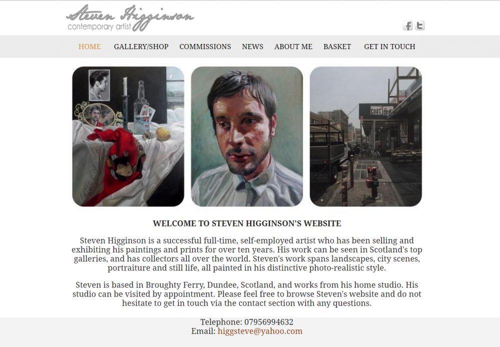 website designed for Steven Higginson