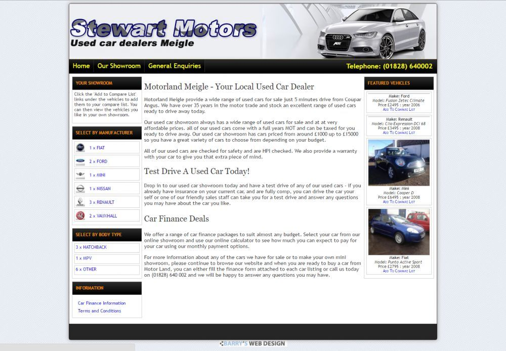 website designed for Motor Land