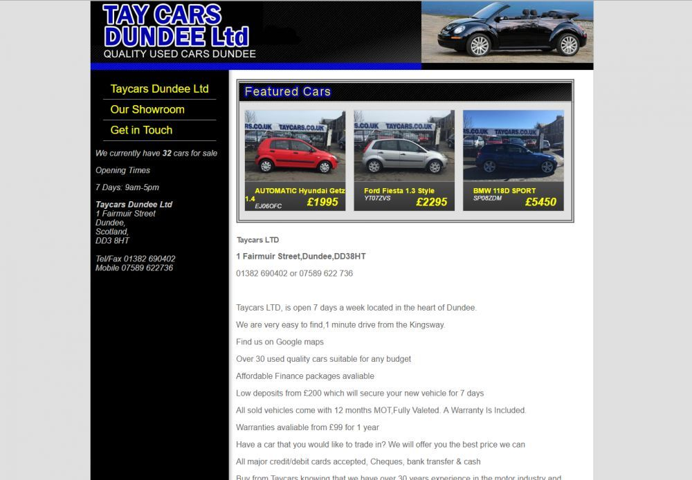 website designed for Tay Cars