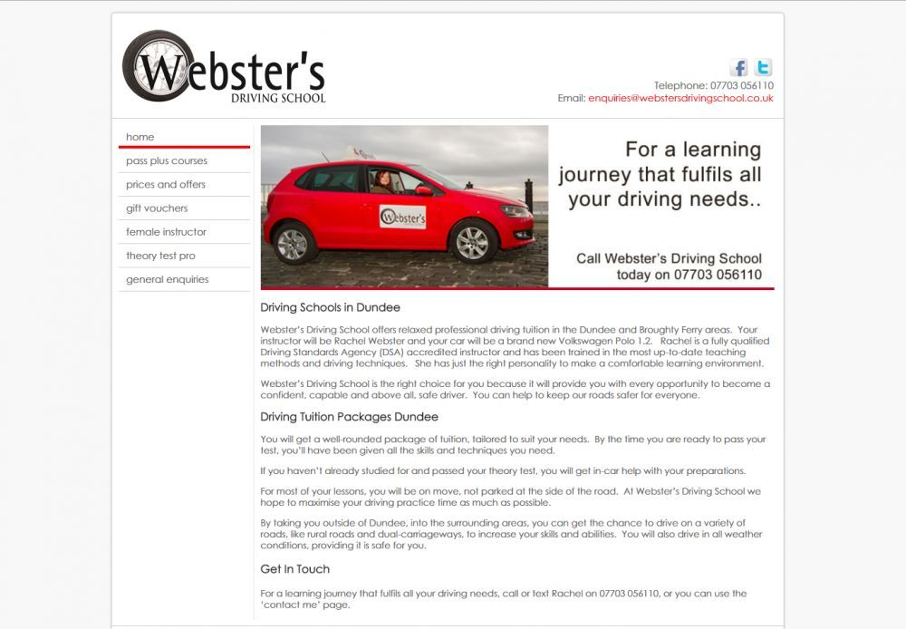 website designed for Websters Driving School