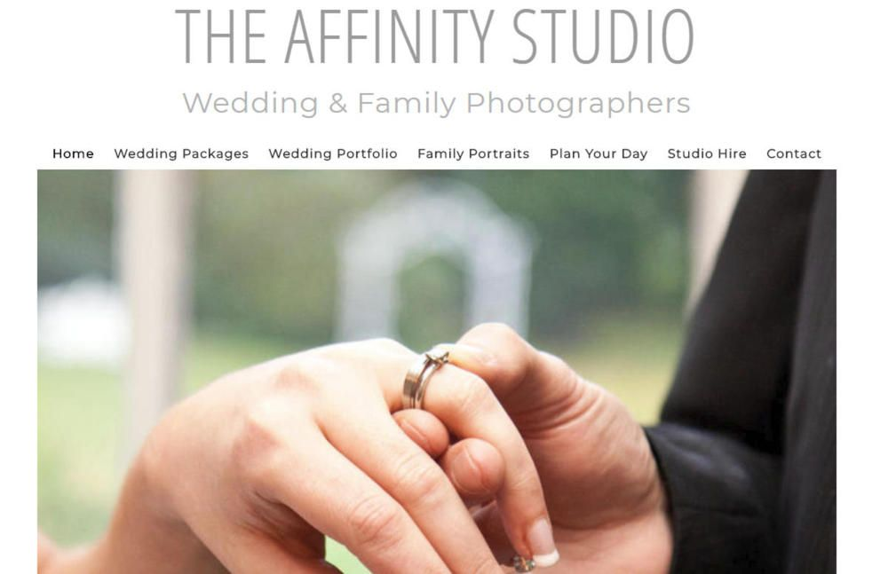 website designed for Affinity Studio - Wedding Photographers