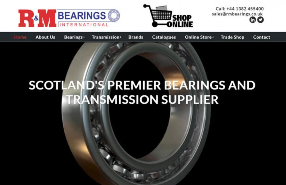 website designed for RM Bearings