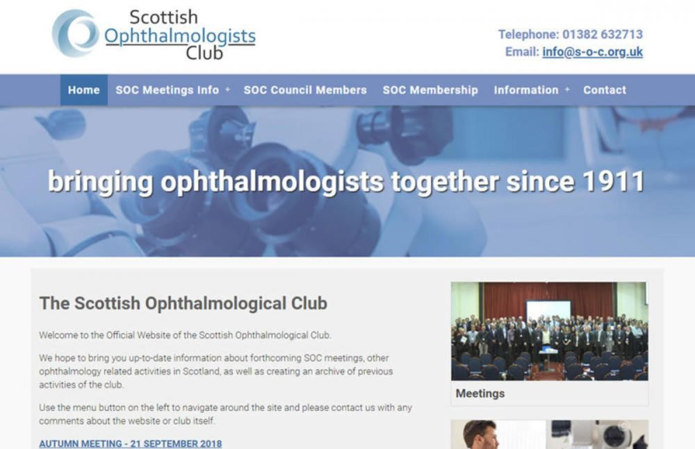 website designed for Scottish Opthalmology Club