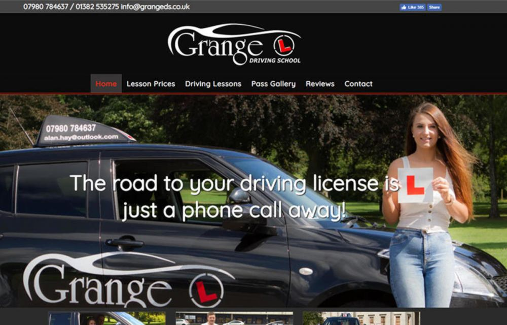 website designed for Grange Driving School