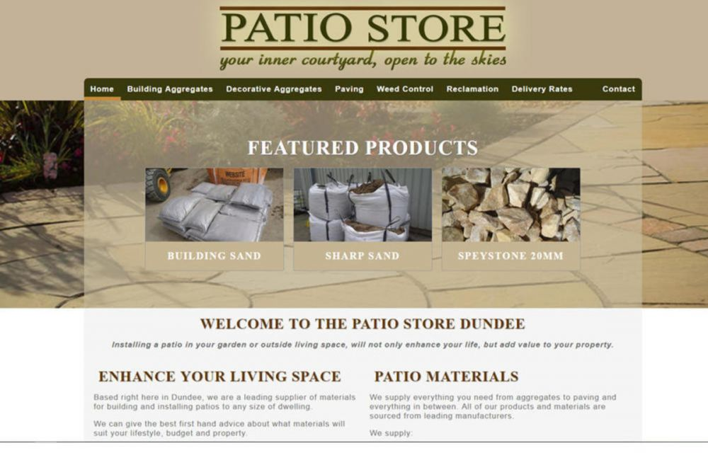 website designed for Patio Store